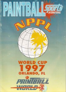 Cover of the 1997 NPPL World Cup Program, published by Paintball Sports International.