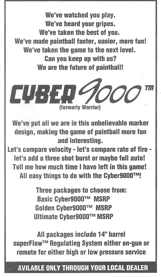 Lower half of PVI's ad column in the 1997 World Cup Program, advertising the Cyber 9000.