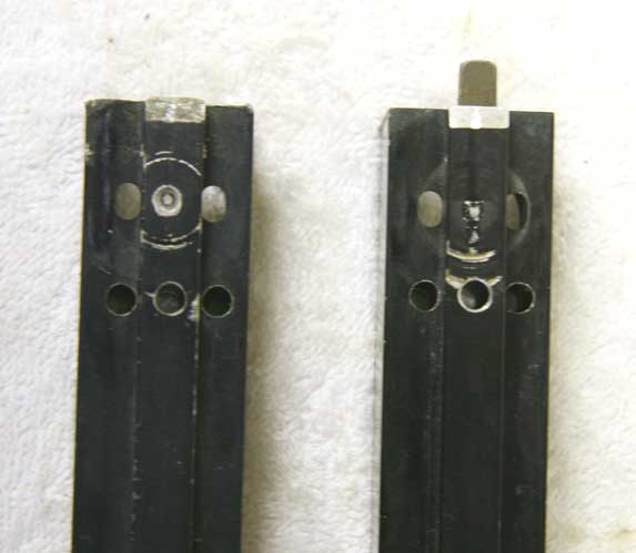 Back facing valve side of Tippmann SMG Aluminum mags.