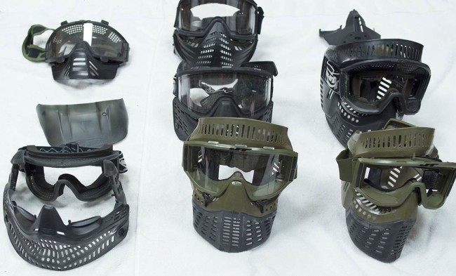 A front view of the masks that were added to inventory. The JT Ize Graphite is in the front, disassembled.