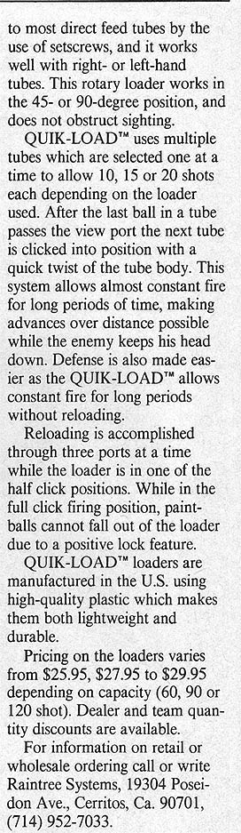 Second column of text from Raintree Quickloader ad. Scanned from October 1988 issue of APG.