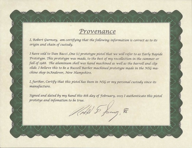 Certificate of Authenticity of Rapide Prototype.