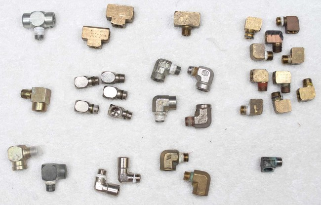 90 degree fittings, T fittings and other misc 1/8th npt pieces that were added to inventory in August of 2015.