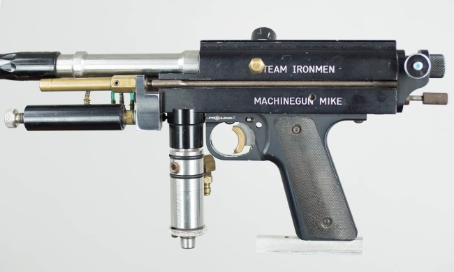 Zoom in on left side of Machine Gun Mike's Autococker.