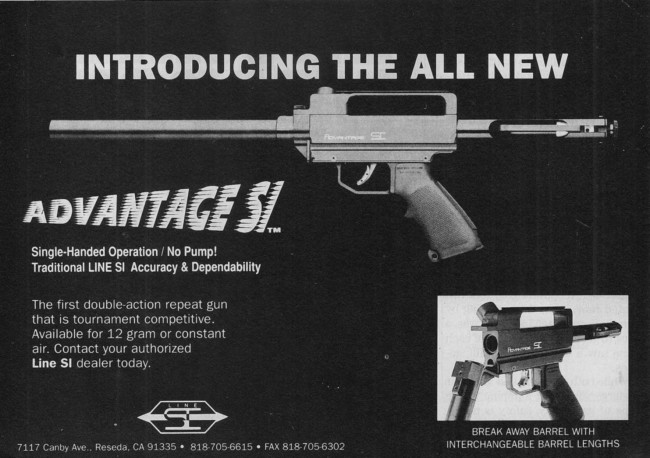 September 1990 advertisement in Paintball Sports International for the Line SI Advantage.