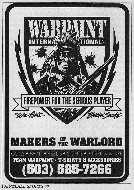 Warpaint and Warload advertisement scanned from the June 1991 issue of Paintball Sports International.