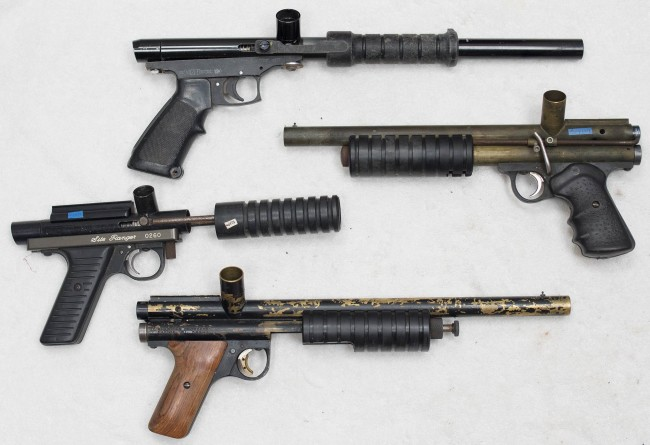 A few pumps added to inventory in October 2015. Top is a bad shape Tagmasters, then a Mac 1 Avenger, a Ranger in used shape and the Annihilator.