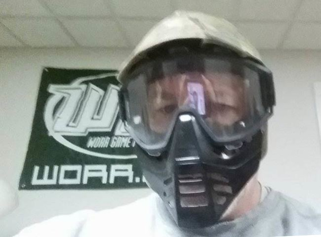 Front view of the Whipper Snapper / GSX goggles in the camo helmet. Chuck is modeling them.