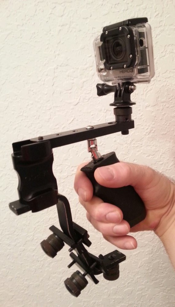 Go Pro SteadyCam setup made from old paintball parts.