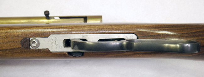 Underside view of KL's lever action plate, stamped with KL-20 on it.