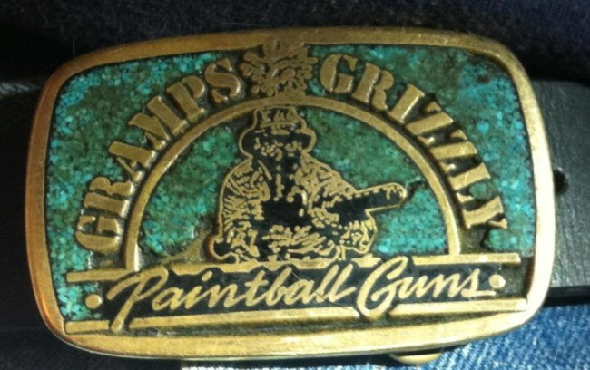 """Lou """"Gramps"""" Grubb's Gramps and Grizzly belt buckle. With inlaid turquoise."""