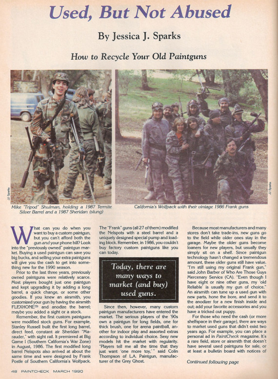 Page one of Jessica Spark's March 1990 article on buying and selling used Paintball Guns.