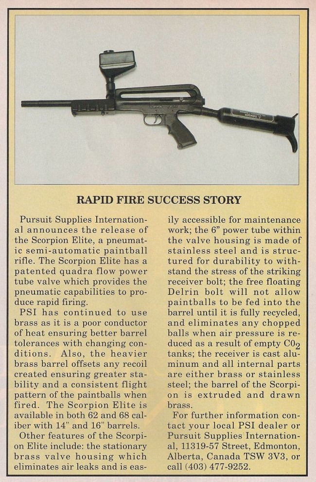 PSI Scorpion ad printed in the June 1991 issue of Paintball Sports International.