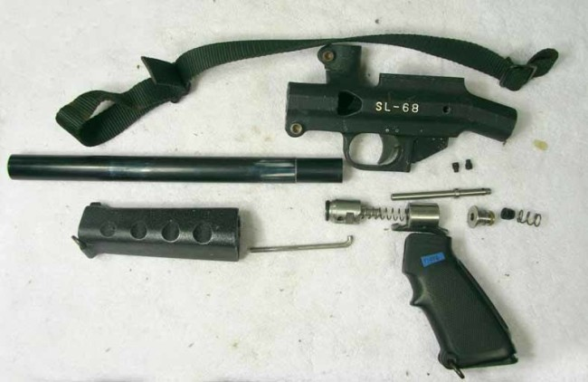 A Tippmann SL-68 1 broken down for inventory.