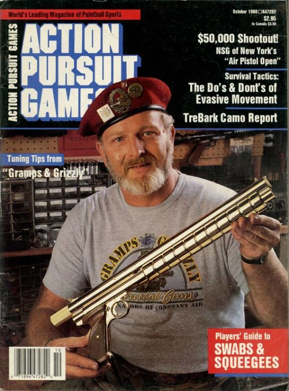 Lou Grubb on the cover of the October 1988 issue of Action Pursuit Games.