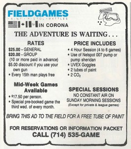 Field Games advertisement scanned from the July 1987 issue of Front Line Magazine.