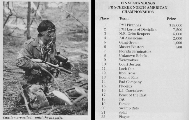 Final Team ranking from the 1990 North America Paintball Championships. Scanned from the January 1991 issue of Paintball Sports Magazine.