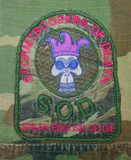 Stormtroopers of Death patch. Photo courtesy Ric De La Cruz. Rough edges from being sewn on Ric's old camo BDUs.