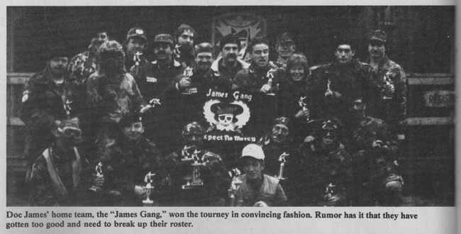 Michael Karman and Jessica Sparks pictured in this photo of the James Gang. Photo scanned from the May 1988 issue of Action Pursuit Games.