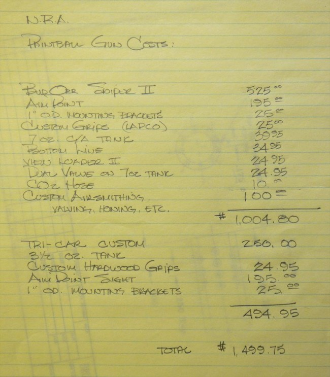 A price breakdown that Bob Fowlie wrote up explaining the costs and modifications of his paintguns.