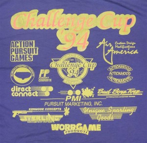Back side crop of sponsors at Forest Brown's Challenge Cup 1994 Shirt.