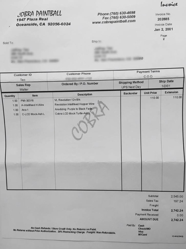 Page two of the invoice for Chris' Cobra Angel.
