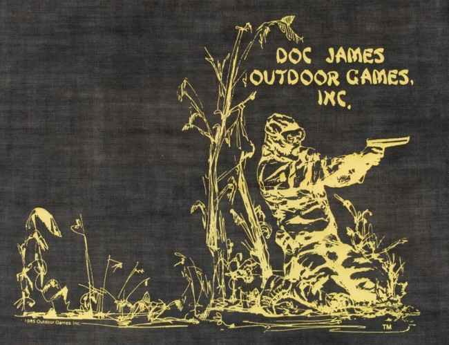 Full shot of Michael Karman's Doc James Outdoor Games flag. Has the date of 1985 on it.