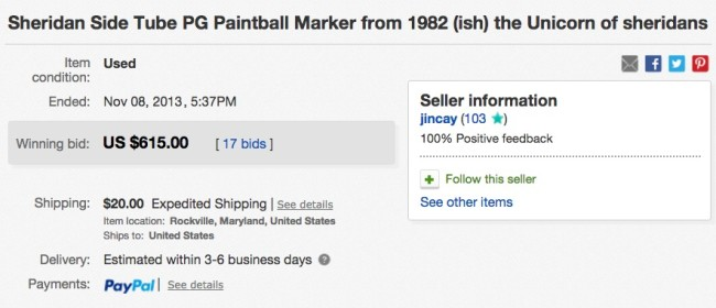 The ebay sale page showing the date and price for this side tube PG.