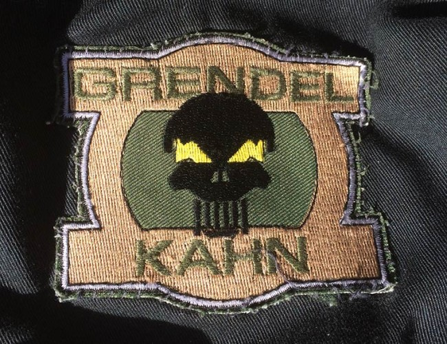 Keith Collin's Grendel Kahn Patch off his Tiger Stripe pull over.