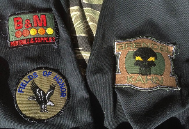 The sleeve's on Keith's Tiger Stripe pullovers with his team patch for Grendel Kahn, Fields of Honor, and B and M.