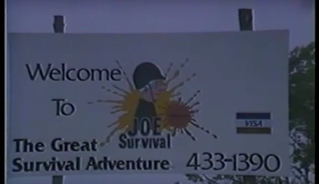 Screen capture from Joe Survival's video footage showing the sign at Joe Survivals.