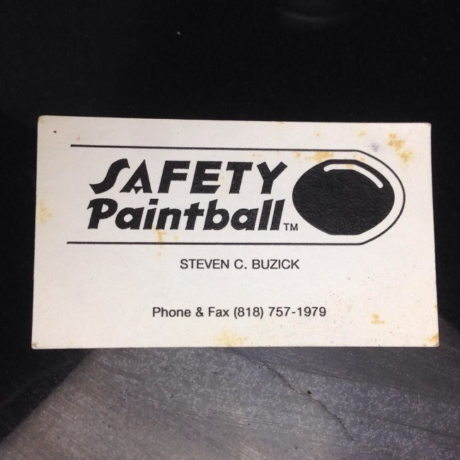 Steven Buzick's Safety Paintball Business Card.