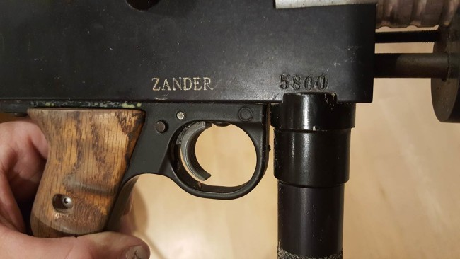 "Close up of Zander's 1990 Sniper 2 with serial 5800 and acid etched ""Zander"" from Bud Orr."