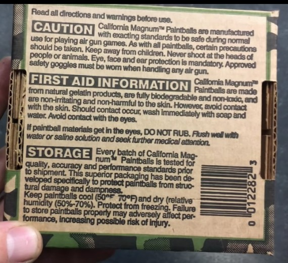 Warnings printed on the back of the California Magnum box.
