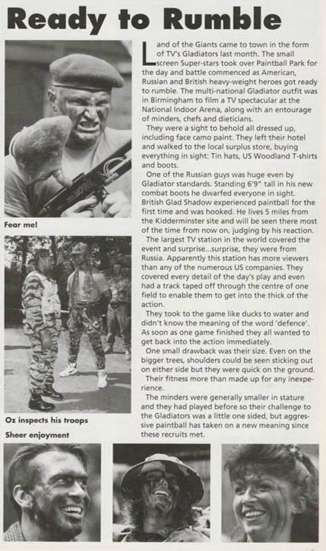 A scan from the September 1994 issue of Paintball Games International sent in by Paul Cross.