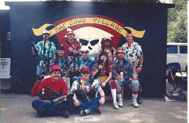 Headhunters at Sat Cong Village Hawaiian shirt day c.1987? Bud Orr back row, 2nd from left.