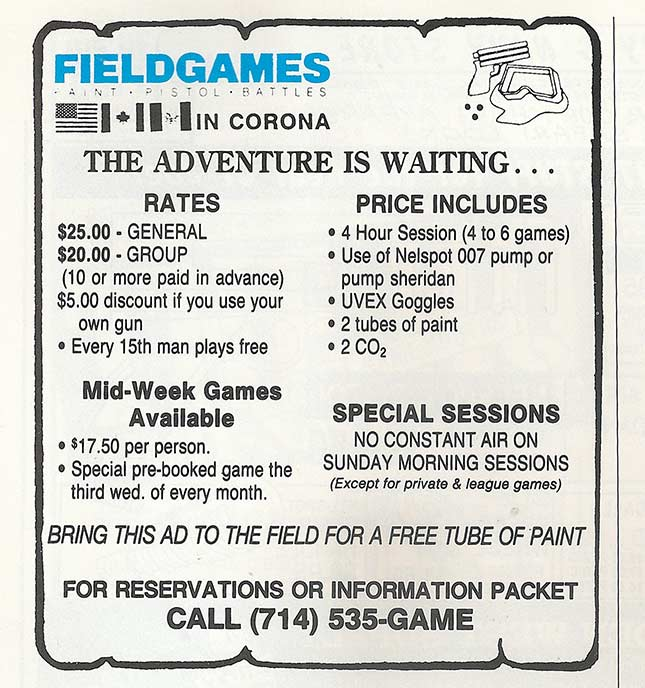Ad for Field Games published in Front Line magazine in September 1987.