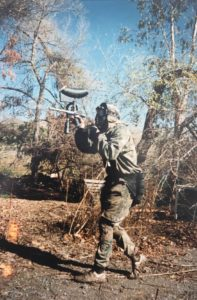 John Coleman shooting his Automag while playing on the Bushwackers in the early 1990s. Photo courtesy John Coleman.