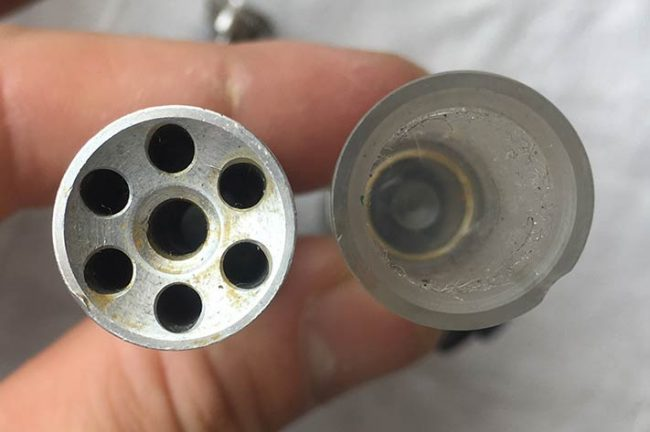 Face view of these Autococker bolts.