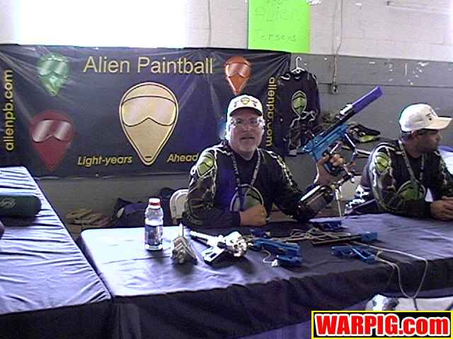 Jack Rice and Duane Parsons, of Alien Paintball, exhibiting at the July 2003 IAO Trade Show. Photo courtesy Bill Mills of Warpig.com.