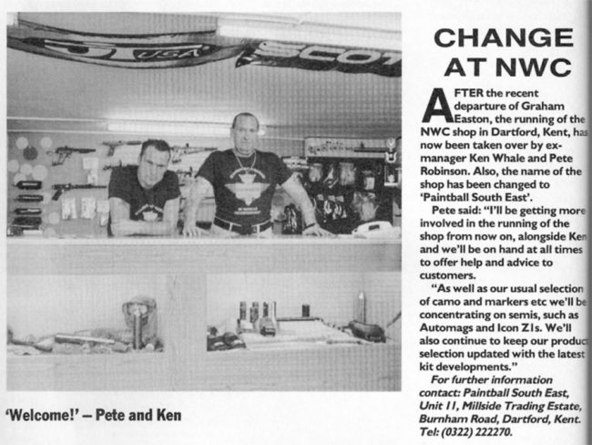 "This November 1992 news blurb from PGI showed Ken Whale and Pete ""Robbo"" Robinson at the Paintball South East. Notice the Legend/Nemesis in the background."