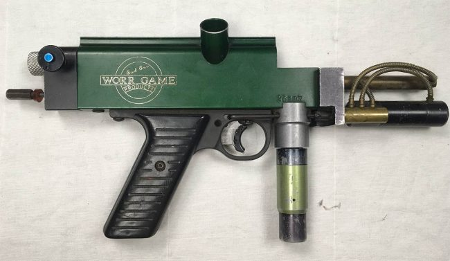 """Green Autococker engraved with """"Bud Orr Worr Game Products"""" engraving. These were rental markers at SC Village in the mid 1990s."""