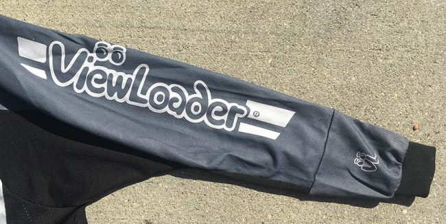 White viwloader text on great sleeve of Viewloader jersey.