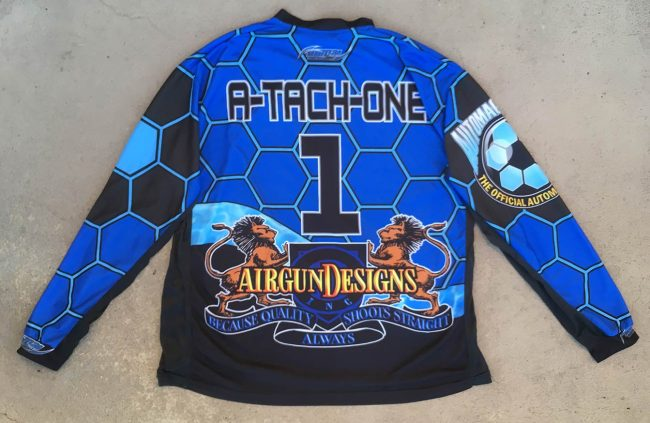 Back side of A-Tach-One's Automags Online Jersey.