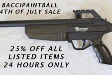 25 percent off for 4th of July sale on baccipaintball!