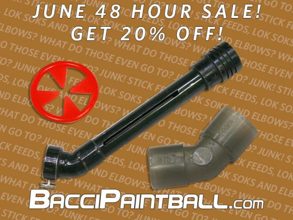 Broken elbows and stickfeeds 20 percent off for BacciPaintball June 2019 sale.