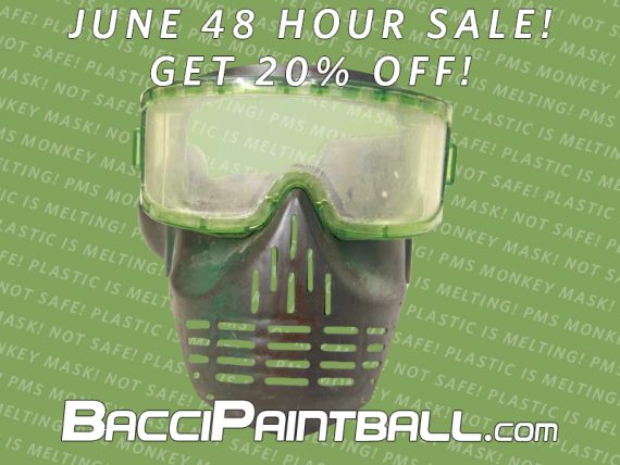 Old display masks at 20 percent off for BacciPaintball June 2019 sale.