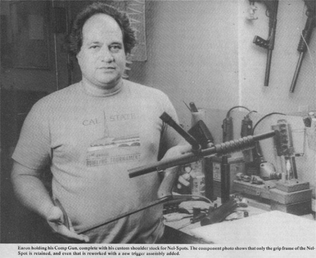 Earon Carter, pictured holding his prototype Carter Comp gun. Scanned from the November 1988 issue of Action Pursuit Games.